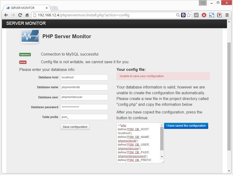 Ubuntu - Install PHP Server Monitor - DB Setup Error