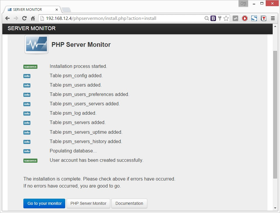 Ubuntu - Install PHP Server Monitor -Home page
