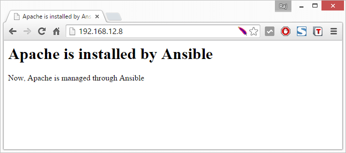 Apache Server Managed by Ansible