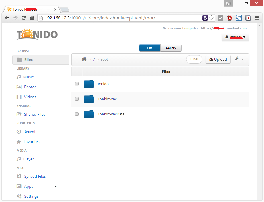 Install Tonido - DashBoard