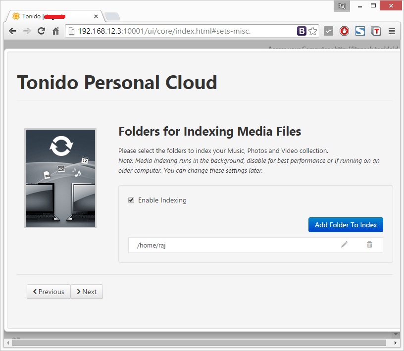 Install Tonido - Indexing Media Files