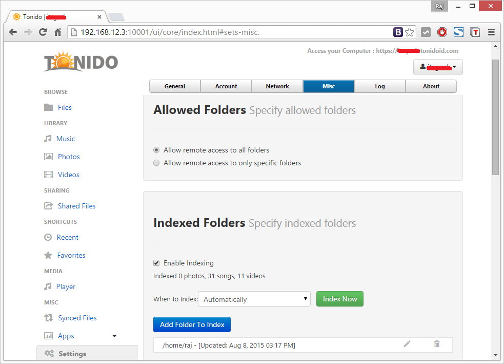 Install Tonido - Manual Indexing