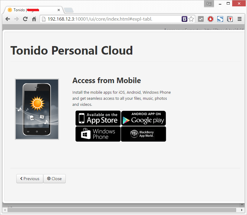 Install Tonido - Mobile Apps