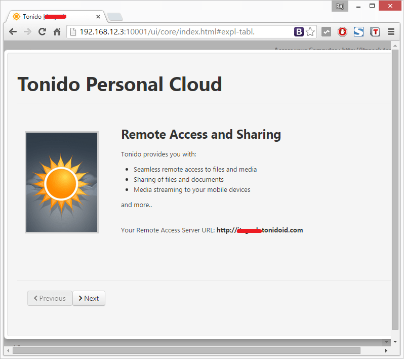 Install Tonido - Remote Server URL