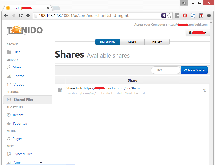 Install Tonido - Sharing File