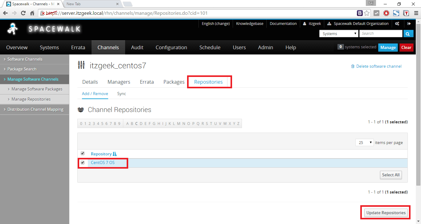 Managing Channels and Repositories - Adding Repository to Base Channel