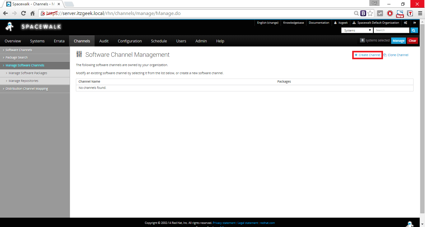 Managing Channels and Repositories - Create Base Channel