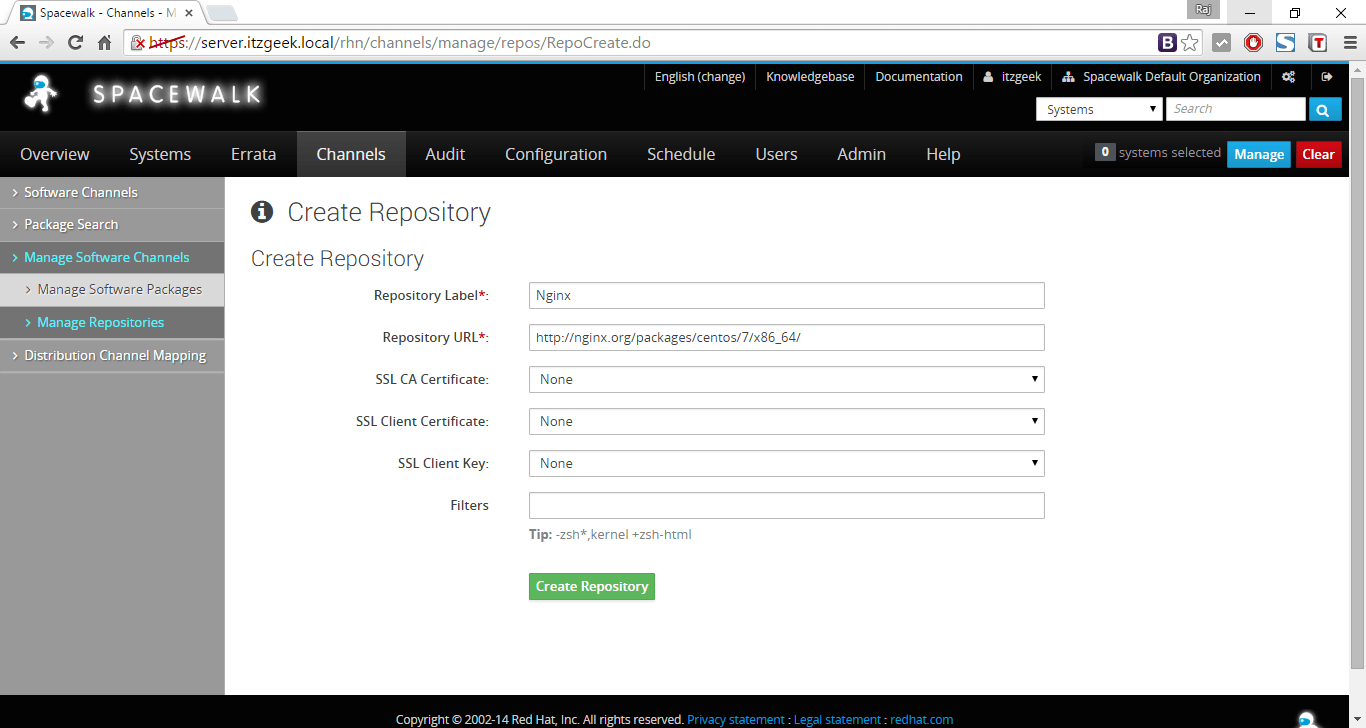 Managing Channels and Repositories - Create a Nginx repository