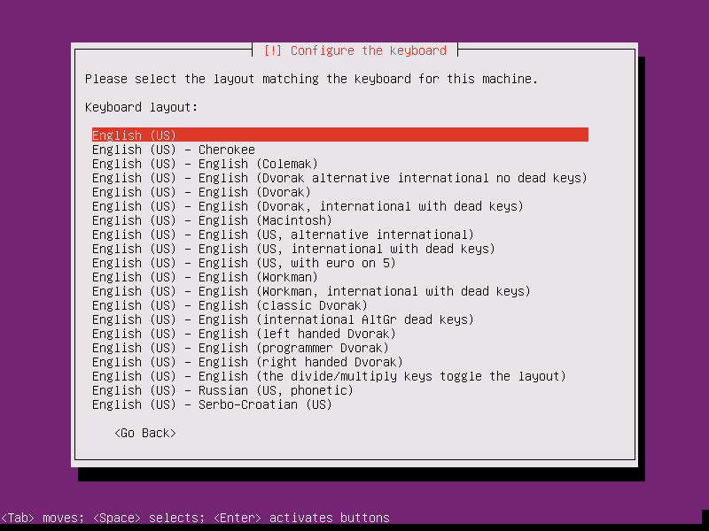 Install Ubuntu 15.10 Server - Keyboard Layout