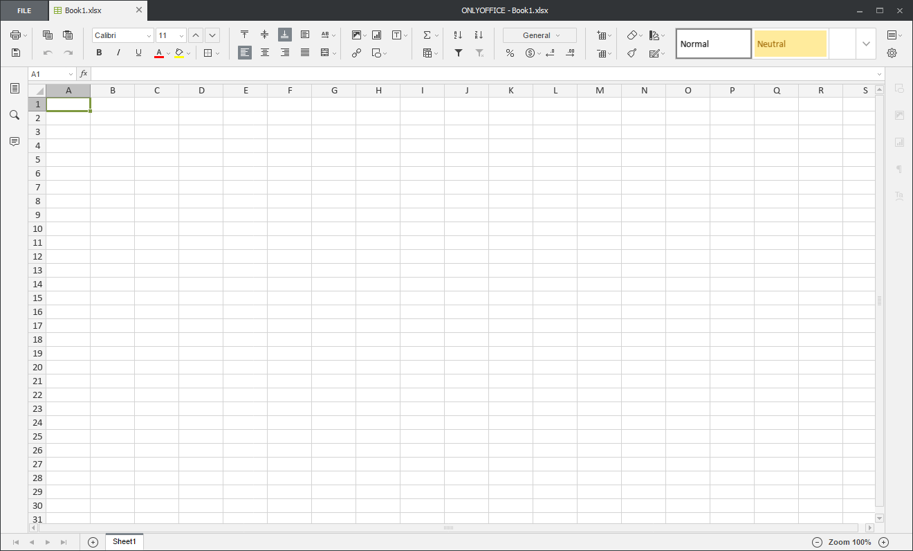 Creating new spreadsheets