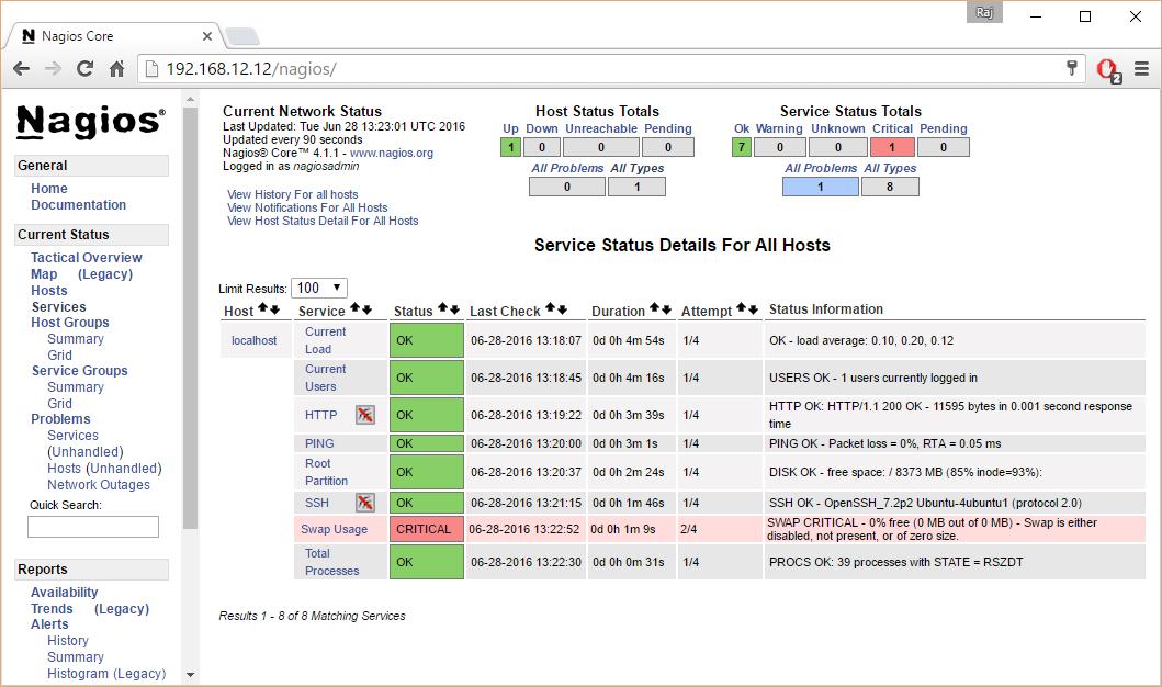 Install Nagios 4.1.1 on Ubuntu 16.04 – Nagios Host Status