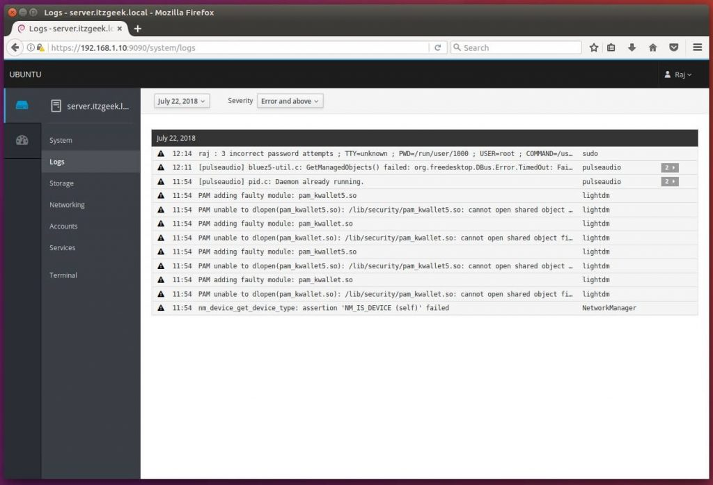 Install Cockpit on Ubuntu 16.04 - View System Logs