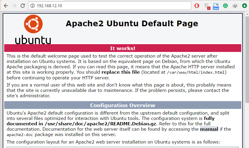 Install WordPress + Apache, MariaDB, and HHVM in Ubuntu 16.04 - Apache Default Page
