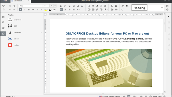 ONLYOFFICE Desktop Editors 4.1.2 Released – Install it on CentOS / RHEL – Add plugins to extend the editor functionality