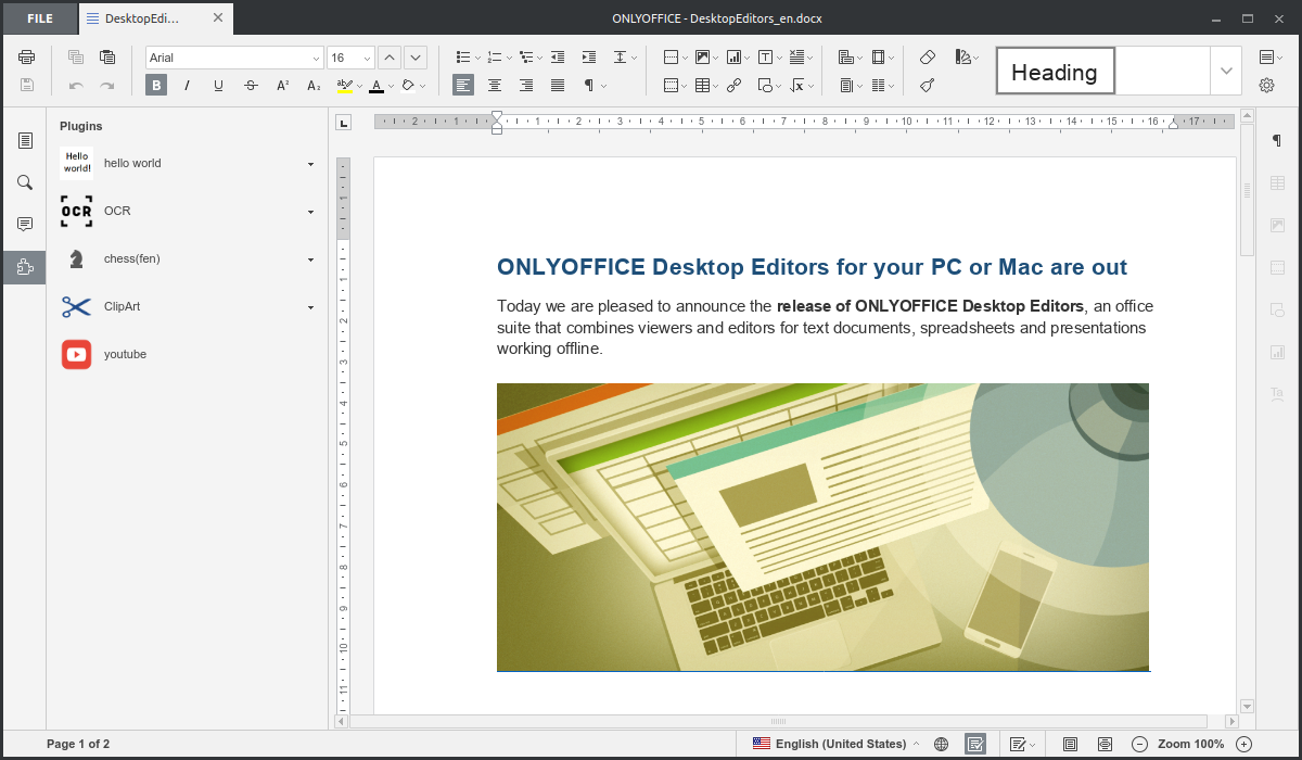 ONLYOFFICE Desktop Editors 4.1.2