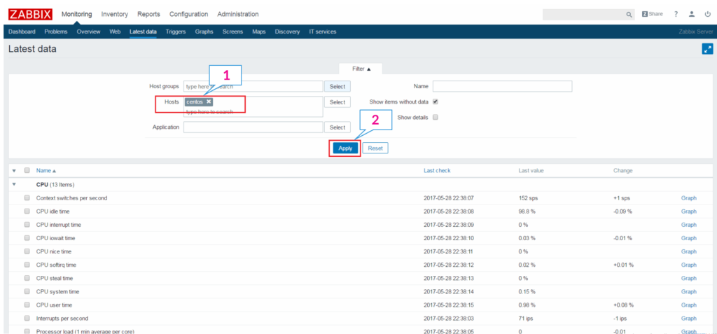 Add a Node to Zabbix Server for Monitoring - Latest data of hosts