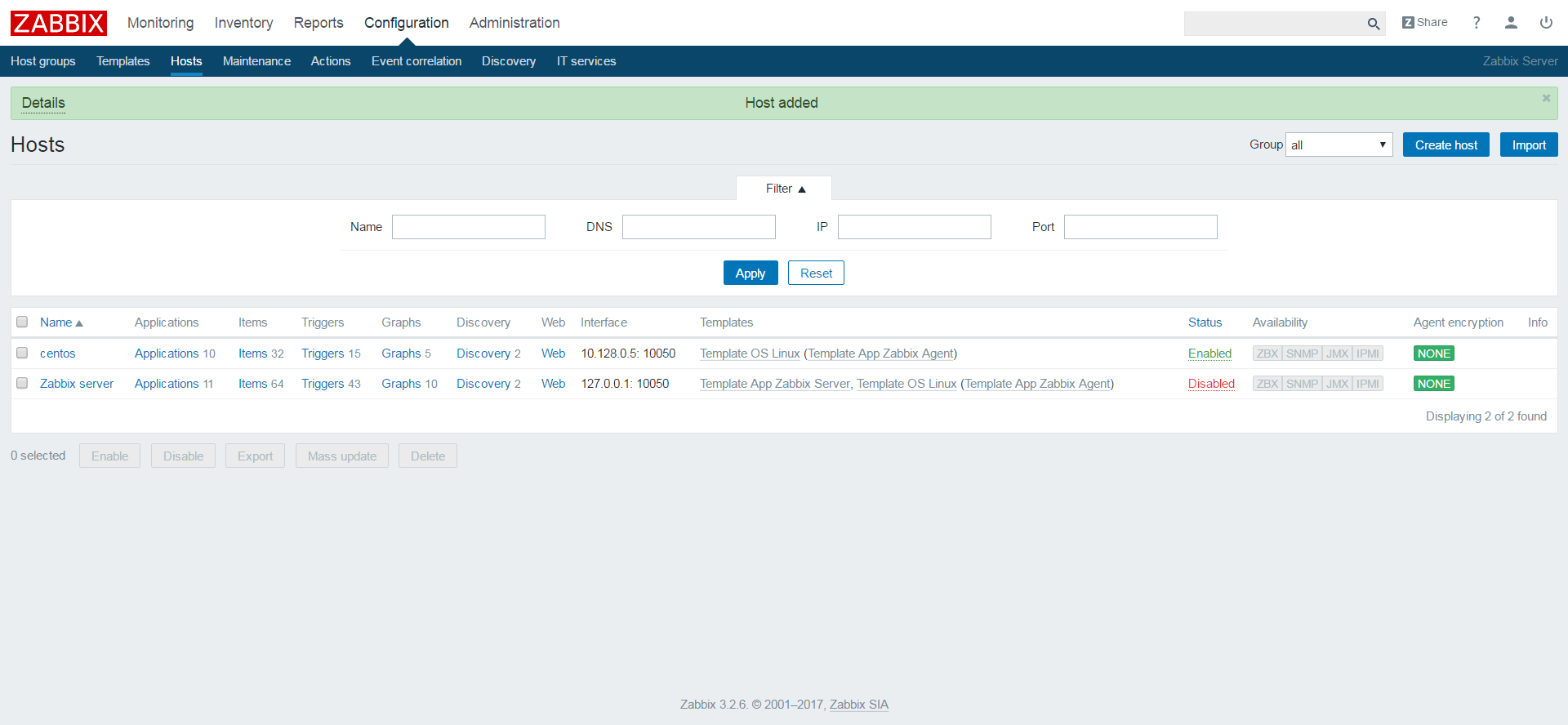 Add a Client Node to Zabbix Server for Monitoring - List of Hosts