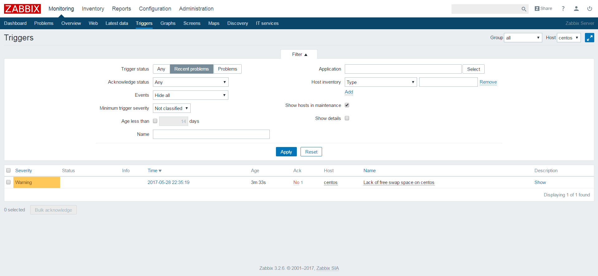 Add a Node to Zabbix Server for Monitoring - Triggered Events