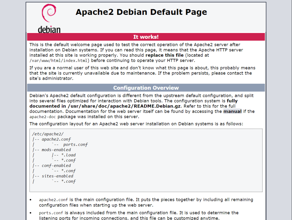 Setup Apache Virtual Hosts On Debian 9 - Apache2 Default Page