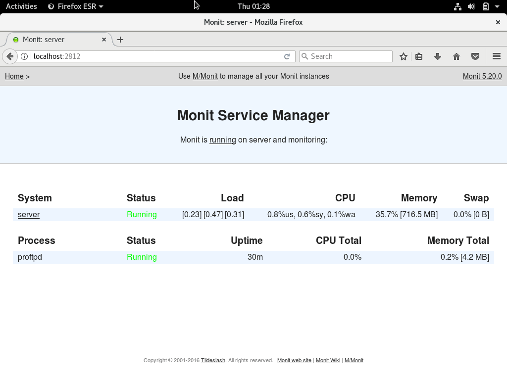 Install and use Monit on Debian 9 - Monitoring Proftpd service