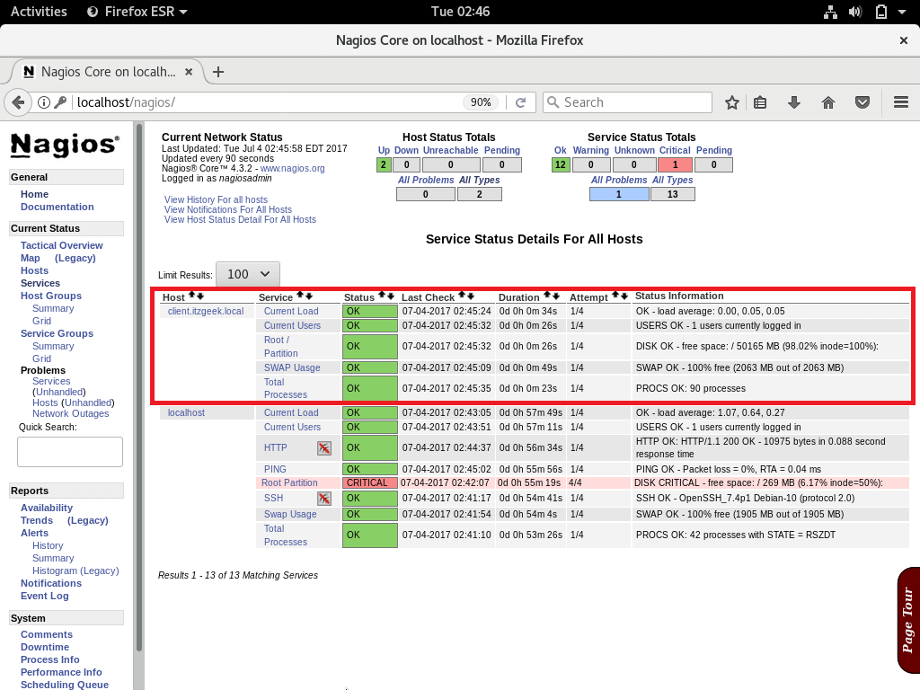 Add Linux Host to Nagios Monitoring - Nagios Web Interface