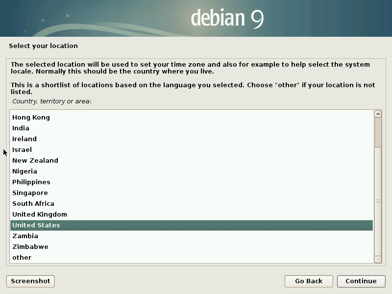 Install Debian 9 Stretch - Select your Location