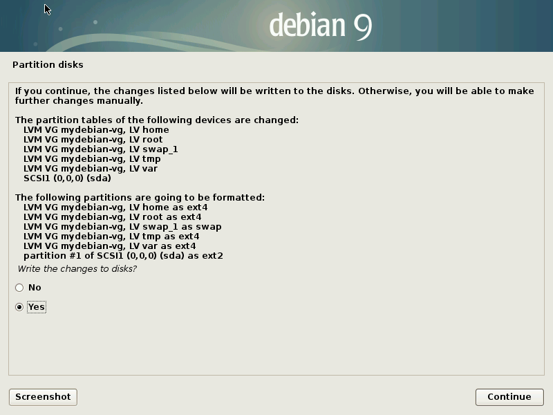 Install Debian 9 Stretch - Write Changes to disk