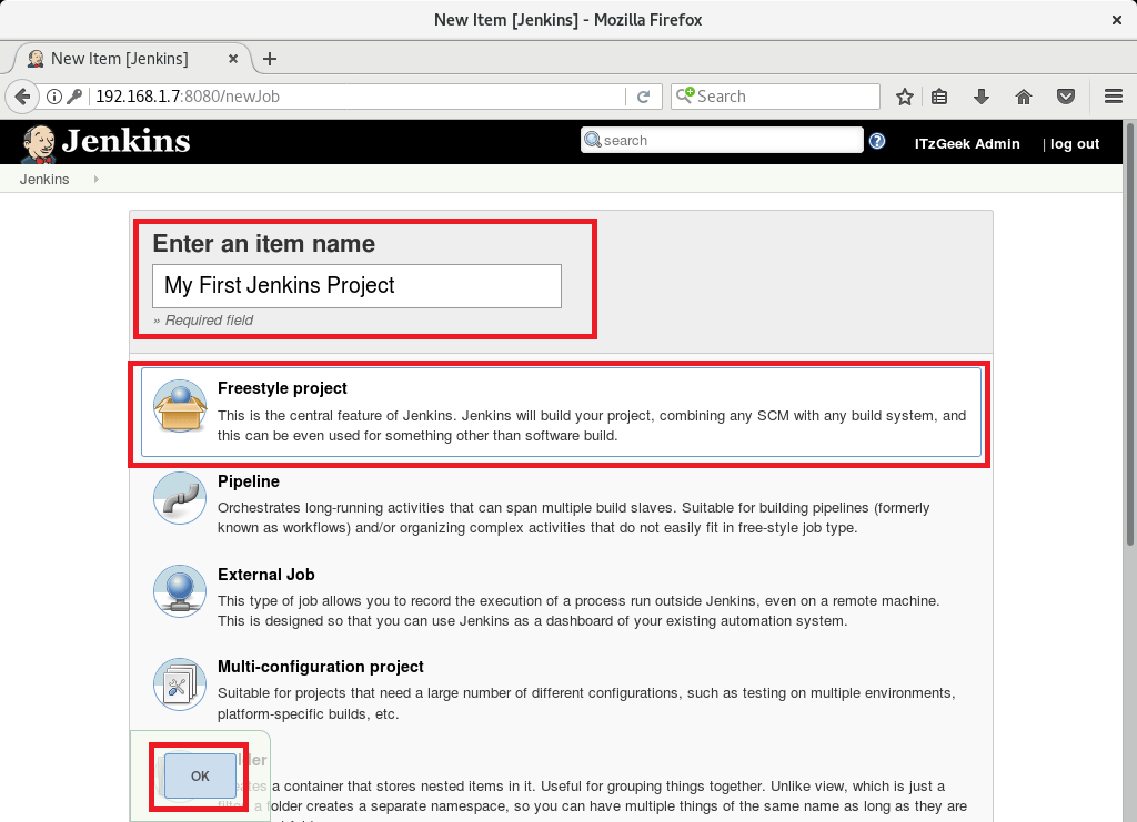 Install and Configure Jenkins on Debian 9 - Creating Project