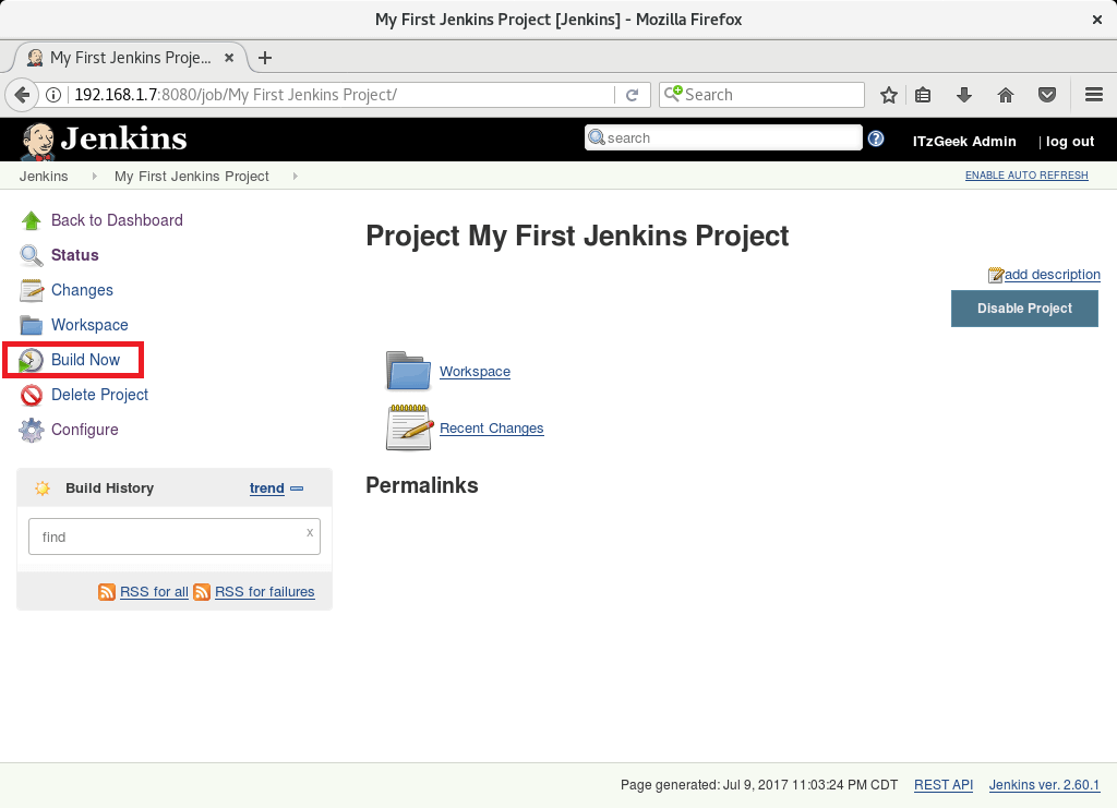 Install and Configure Jenkins on Debian 9 - First Project
