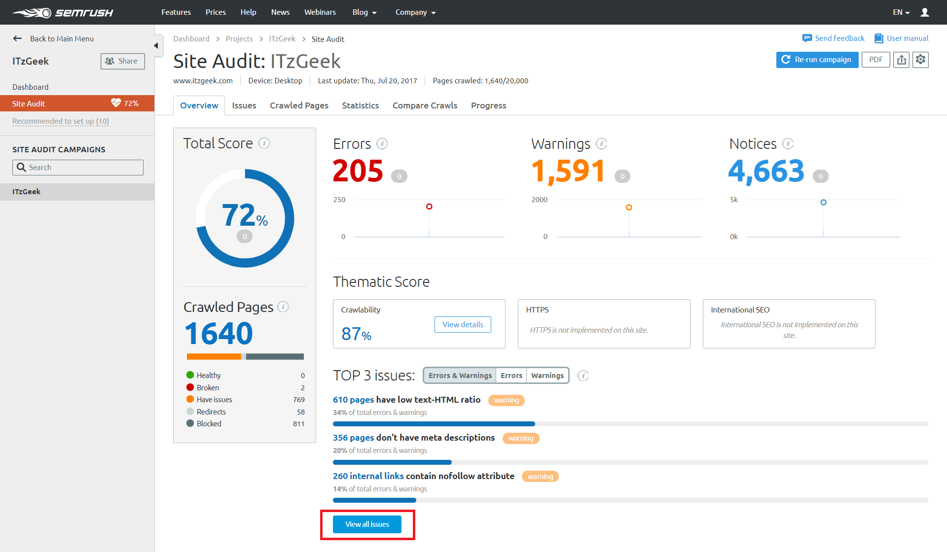 SEMrush Review - Site Audit Report