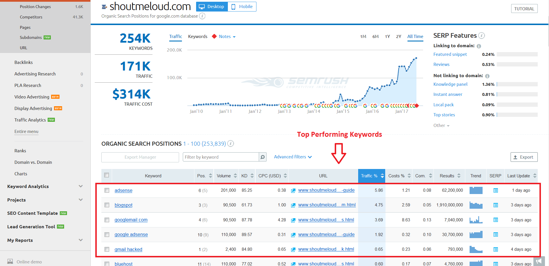 SEMrush Review - Top Performing Keywords