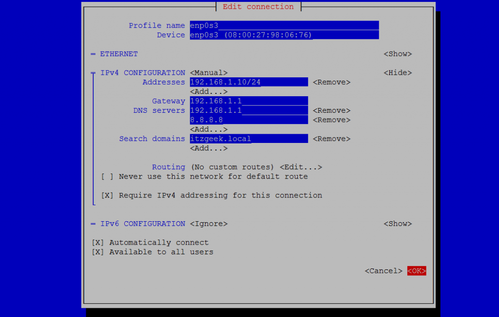 How To Configure Static Ip Address In Centos 7 Rhel 7