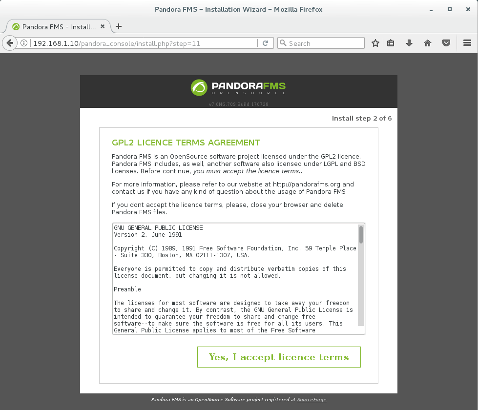 Install PandoraFMS Server on CentOS 7 - Pandora License Agreement