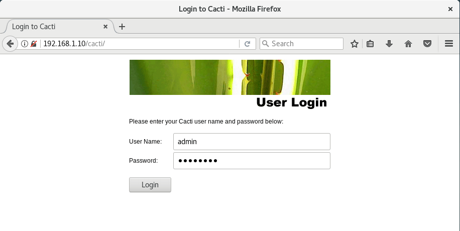 Install Cacti on Debian 9 - Cacti Login Page