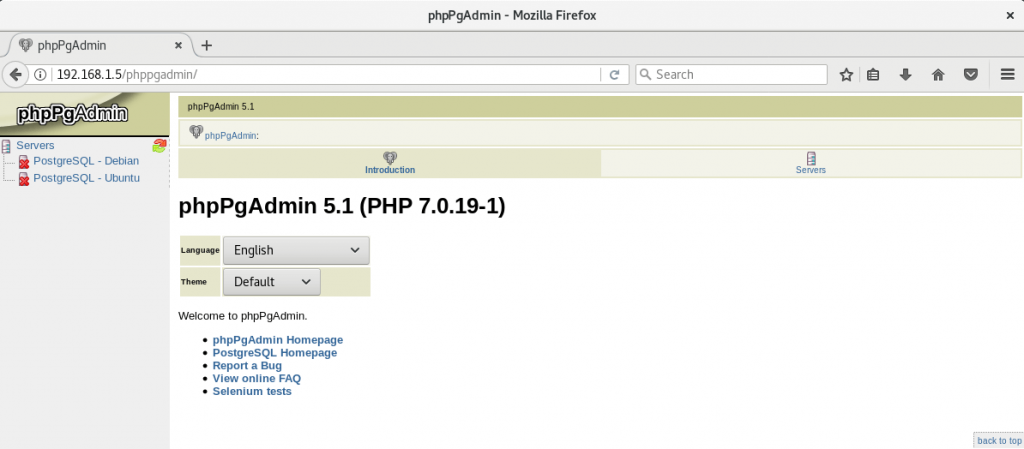 Install phpPgAdmin on Debian 9 - phpPgAdmin Page with Multiple PostgreSQL Instances