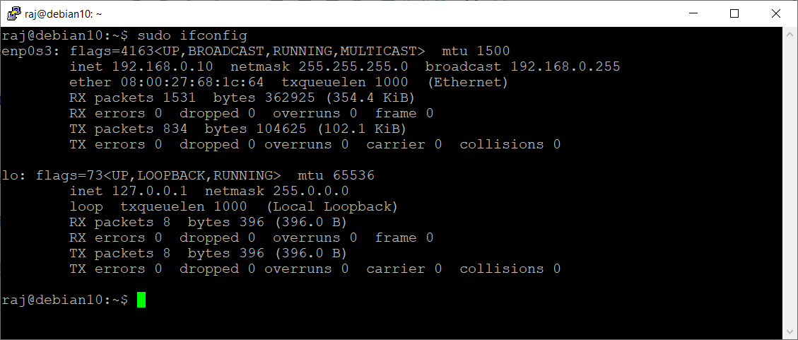 Output of ifconfig command After Disabling IPv6