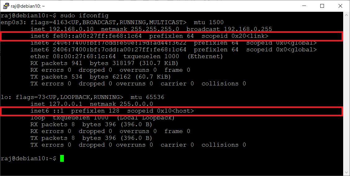 Output of ifconfig command Before Disabling IPv6
