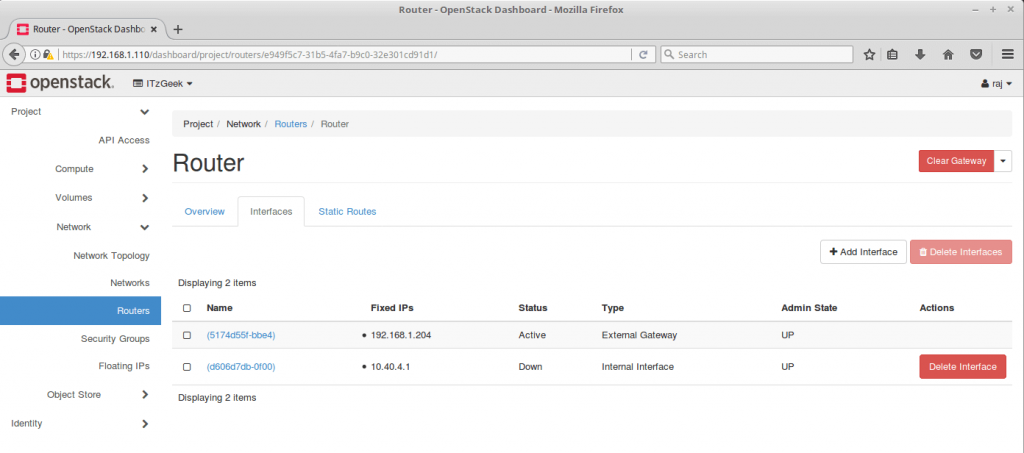 Configure OpenStack Networking - Router Network Interfaces
