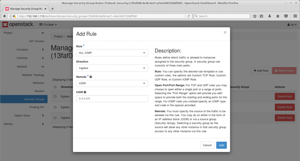 Launch an OpenStack Instance - Add ICMP Rule