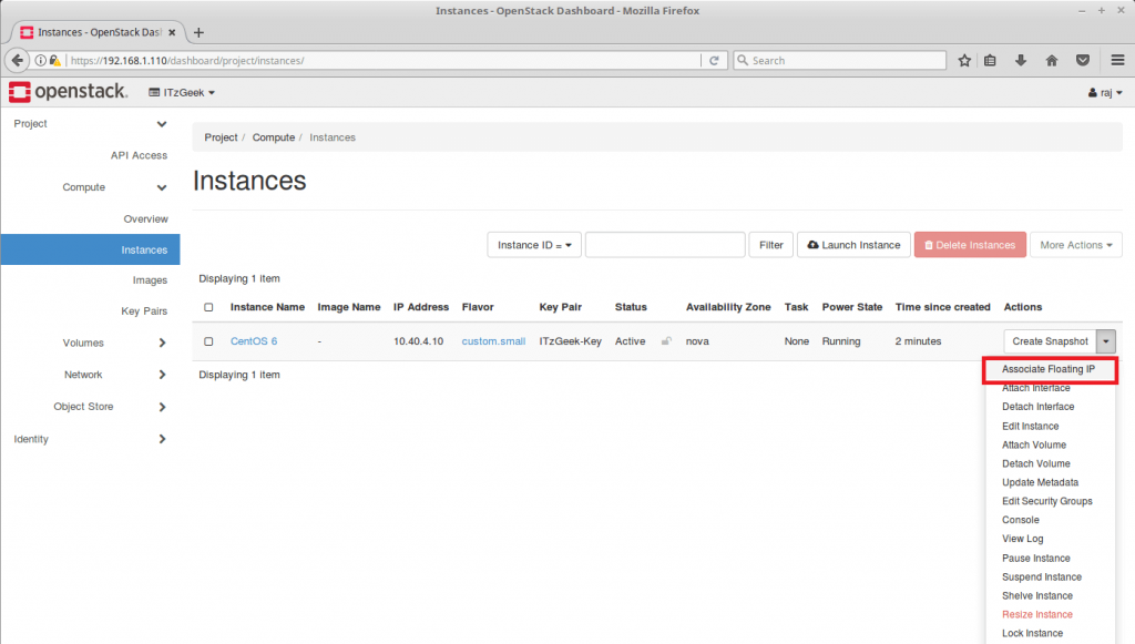 Launch an OpenStack Instance - Assign Floating IP to VM