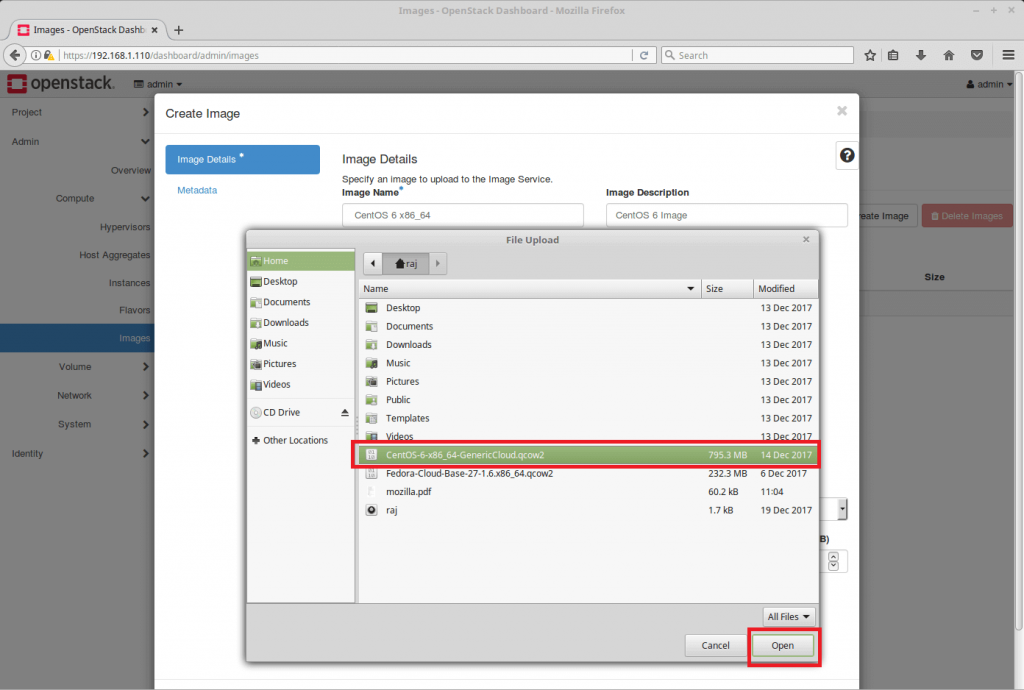 Launch an OpenStack Instance - Browse OpenStack Image