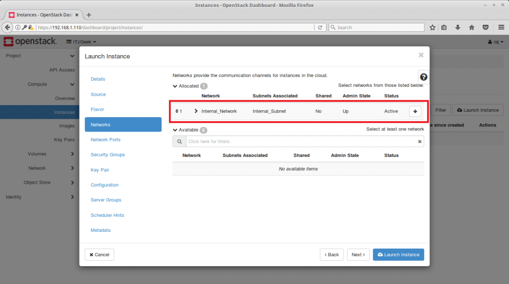 Launch an OpenStack Instance - Choose Network
