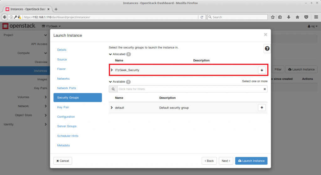 Launch an OpenStack Instance - Choose Security Group