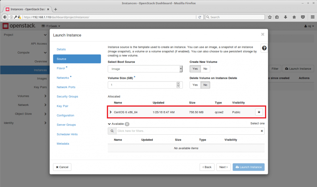 Launch an OpenStack Instance - Choose VM Image