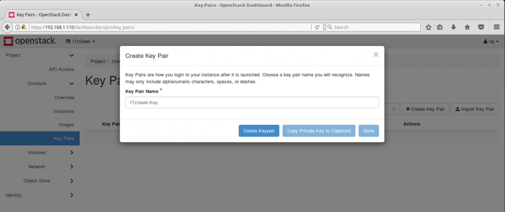 Launch an OpenStack Instance - Create Key Pair
