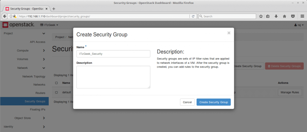 Launch an OpenStack Instance - Create Security Group