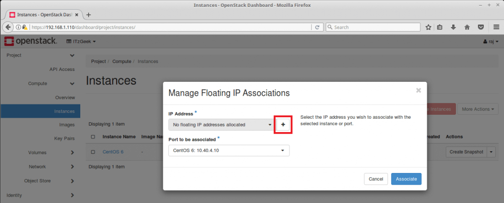 Launch an OpenStack Instance - Manage Floating IP Association