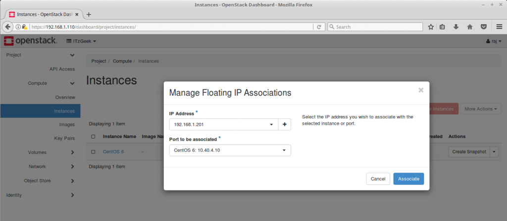 Launch an OpenStack Instance - Map the IP