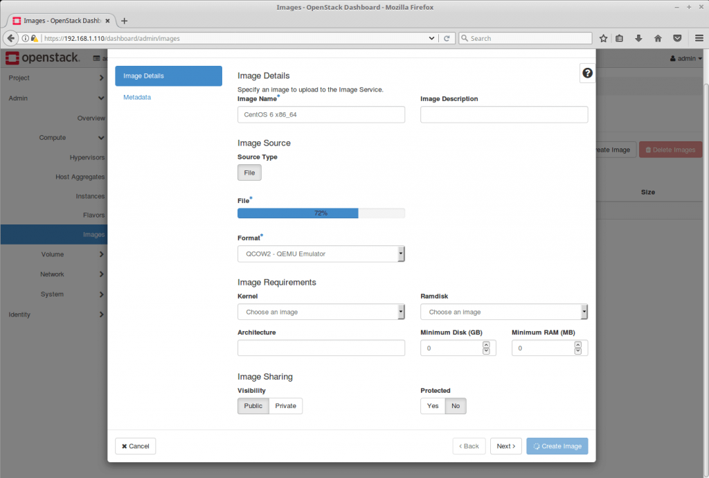 Launch an OpenStack Instance - OpenStack Image Creation in Progress