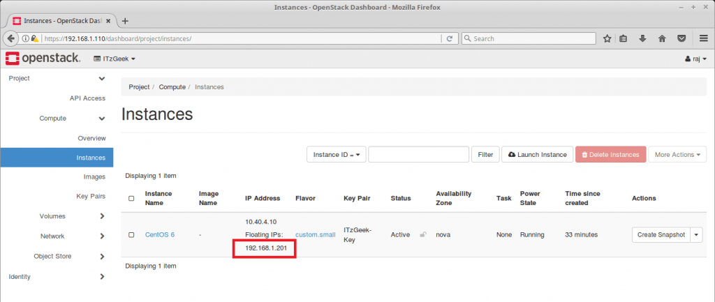Launch an OpenStack Instance - OpenStack Instance Running with Floating IP